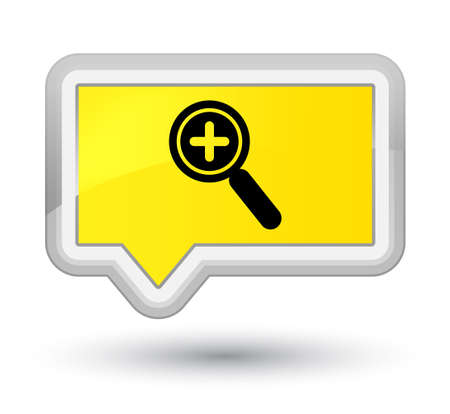 zoom: Zoom in icon isolated on prime yellow banner button abstract illustration
