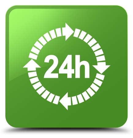 24 hours delivery icon isolated on soft green square button abstract illustration