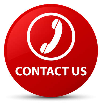 Contact us (phone icon) isolated on red round button abstract illustration 版權商用圖片