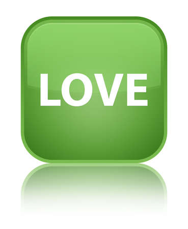 Love isolated on special soft green square button reflected abstract illustration