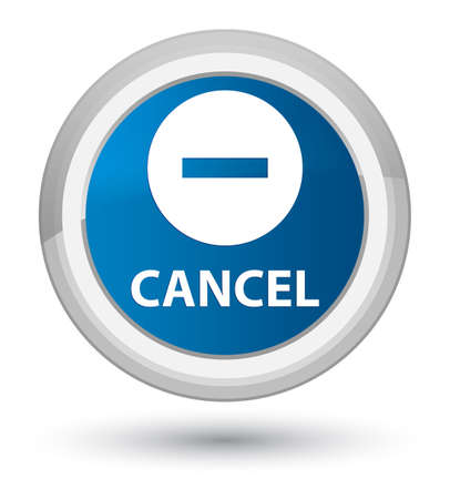 Cancel isolated on prime blue round button abstract illustration Stock Photo