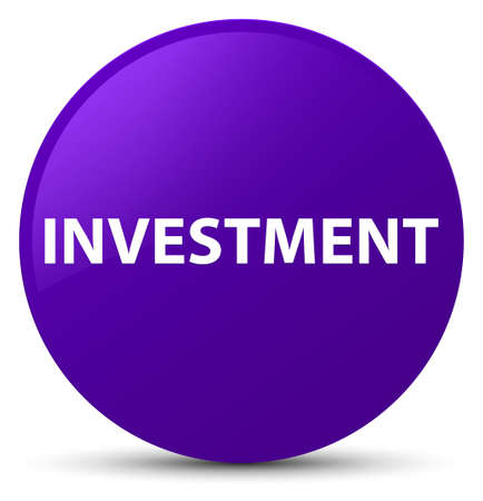 Investment isolated on purple round button abstract illustration Stock Photo