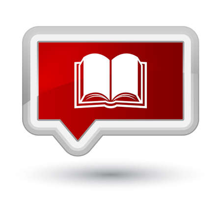 Book icon isolated on prime red banner button abstract illustration