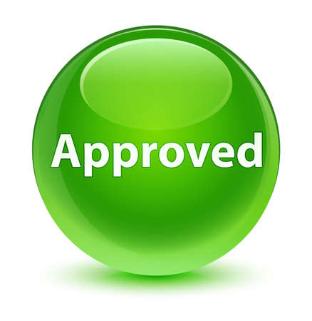 Approved isolated on glassy green round button abstract illustration