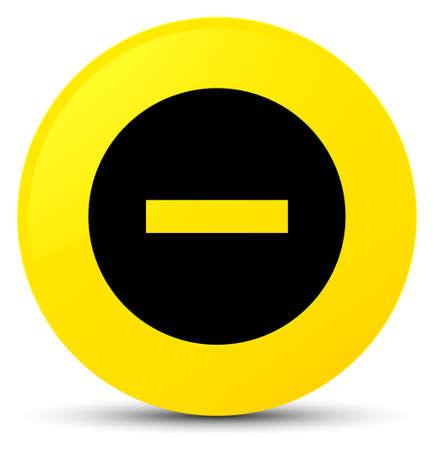 Abbrechen Sie die Ikone, die auf gelber runder Knopfzusammenfassungsillustration lokalisiert wird Standard-Bild