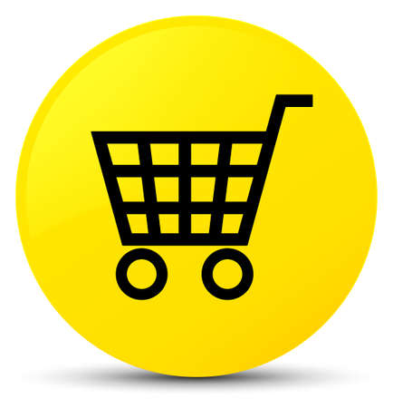 Ecommerce icon isolated on yellow round button abstract illustration