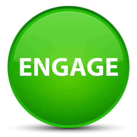 Engage isolated on special green round button abstract illustration