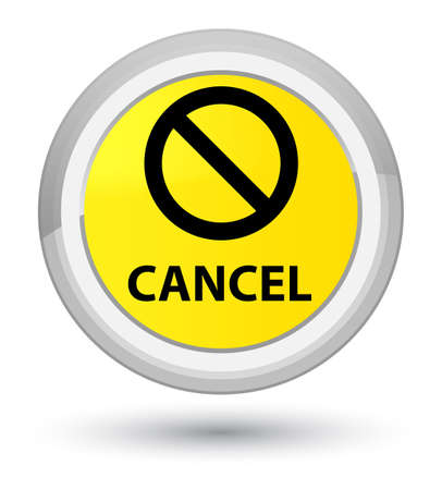 Cancel (prohibition sign icon) isolated on prime yellow round button abstract illustration