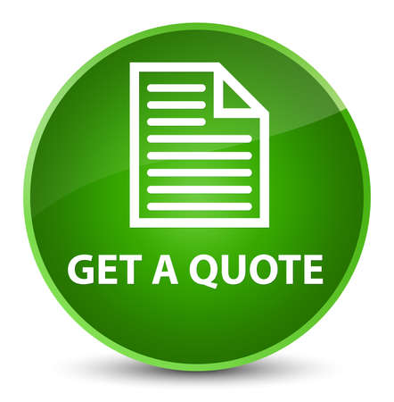 testimonials: Get a quote (page icon) isolated on elegant green round button abstract illustration Stock Photo