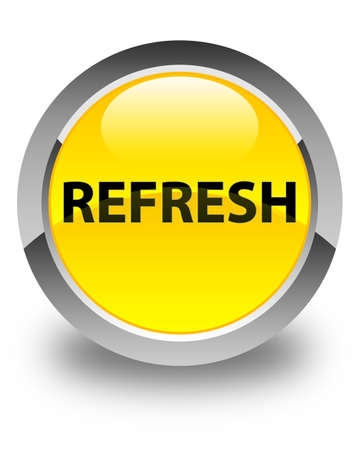 Refresh isolated on glossy yellow round button abstract illustration Stock Photo