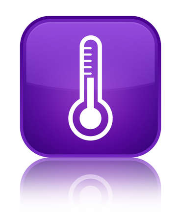 medical instrument: Thermometer icon isolated on special purple square button reflected abstract illustration