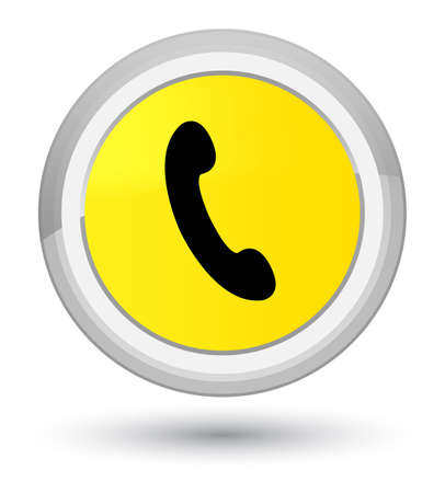 Phone icon isolated on prime yellow round button abstract illustration