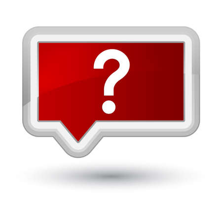 prime: Question mark icon isolated on prime red banner button abstract illustration Stock Photo