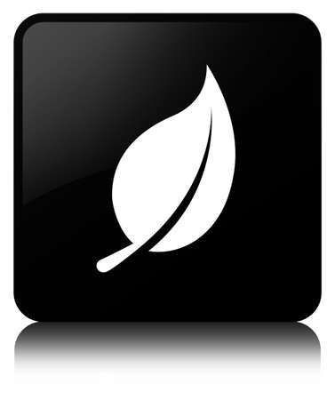 Leaf icon isolated on black square button reflected abstract illustration Фото со стока