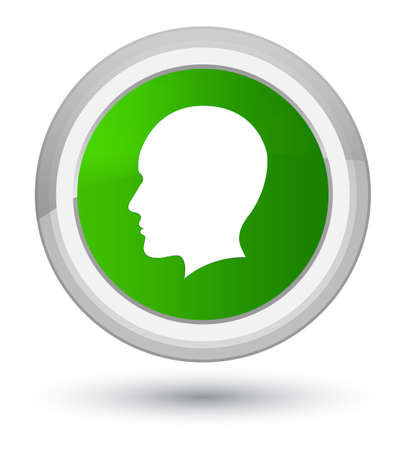 Head men face icon isolated on prime green round button abstract illustration Stock Photo