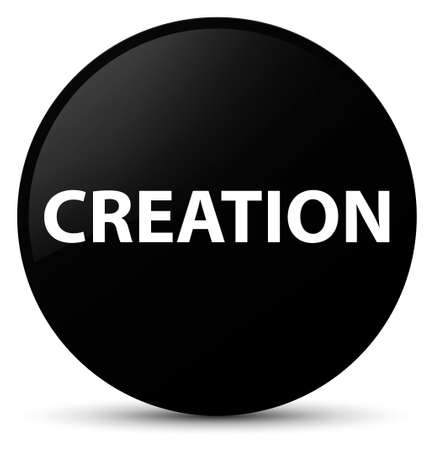 Creation isolated on black round button abstract illustration Stok Fotoğraf