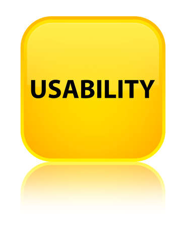 Usability isolated on special yellow square button reflected abstract illustration