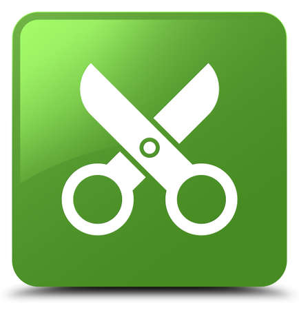 Scissors icon isolated on soft green square button abstract illustration