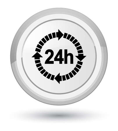 24 hours delivery icon isolated on prime white round button abstract illustration