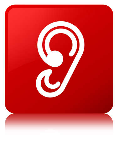 Ear icon isolated on red square button reflected abstract illustration
