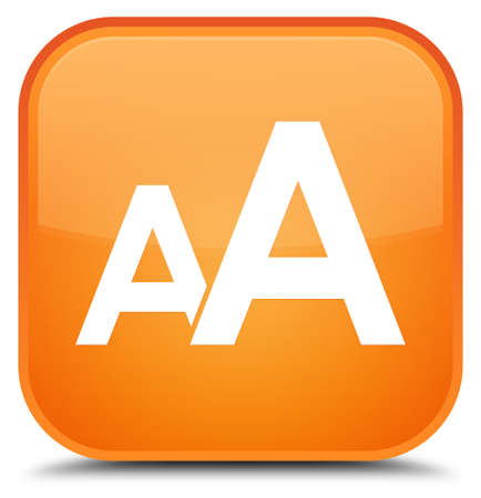 Font size icon isolated on special orange square button abstract illustration