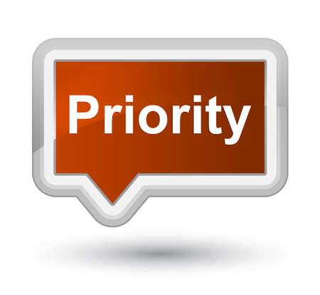 Priority isolated on prime brown banner button abstract illustration Фото со стока