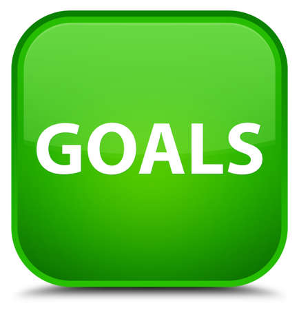 Goals isolated on special green square button abstract illustration