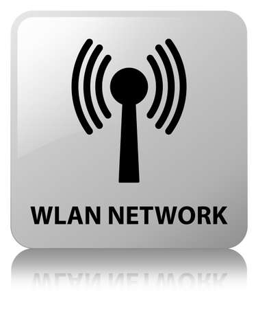 Wlan network isolated on white square button reflected abstract illustration Stock Photo