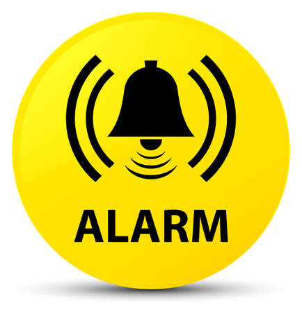Alarm (bell icon) isolated on yellow round button abstract illustration