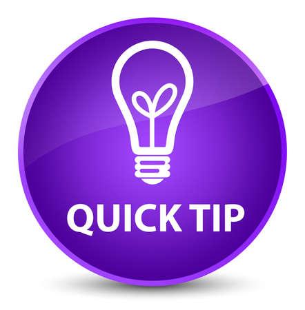 Dica rápida (ícone de lâmpada) isolado na ilustração abstrata de botão redondo roxo elegante