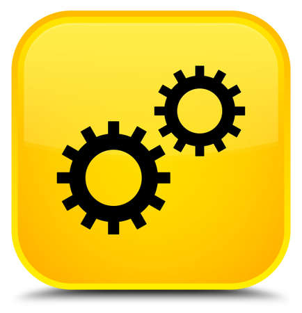 Process icon isolated on special yellow square button abstract illustration