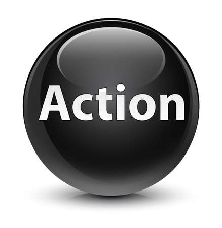Action isolated on glassy black round button abstract illustration