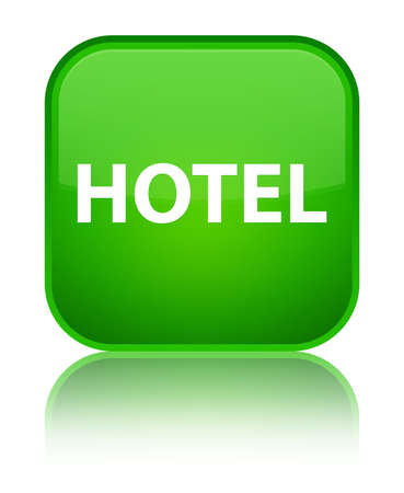 Hotel isolated on special green square button reflected abstract illustration