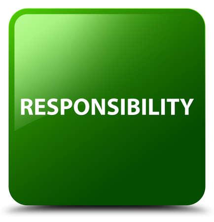 Verantwoordelijkheid op groene vierkante knoop abstracte illustratie die wordt geïsoleerd