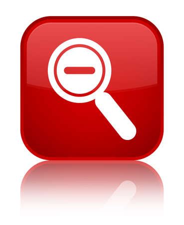 Zoom out icon isolated on special red square button reflected abstract illustration