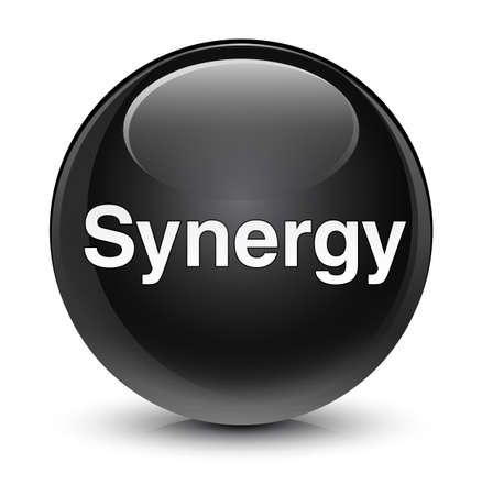 Synergy isolated on glassy black round button abstract illustration Zdjęcie Seryjne