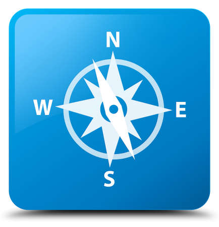 Compass icon isolated on cyan blue square button abstract illustration