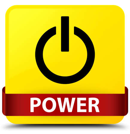 Power isolated on yellow square button with red ribbon in middle abstract illustration