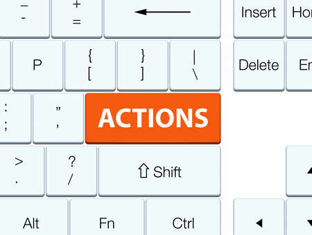 Actions isolated on orange keyboard button abstract illustration Фото со стока - 88644799
