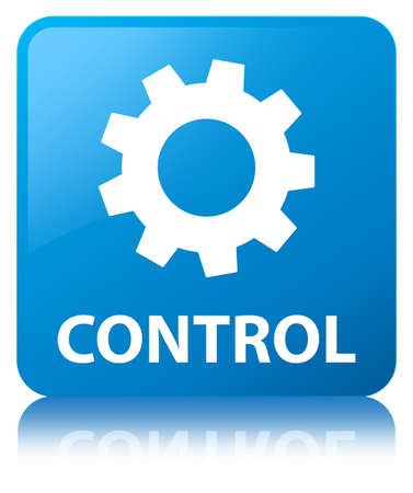 cogwheel: Control (settings icon) isolated on cyan blue square button reflected abstract illustration