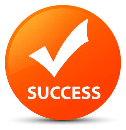 Success (validate icon) isolated on orange round button abstract illustration Stock Photo