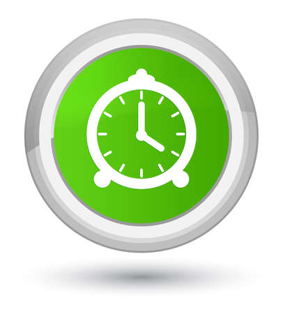 Alarm clock icon isolated on prime soft green round button abstract illustration