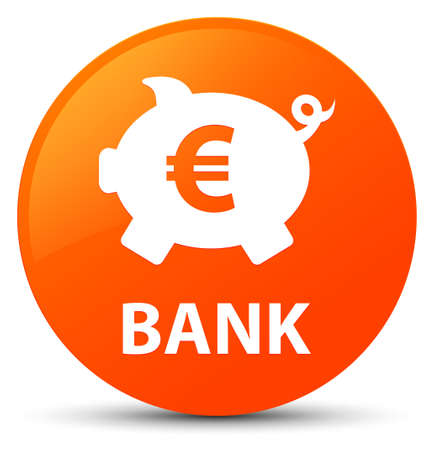 Bank (piggy box euro sign) isolated on orange round button abstract illustration