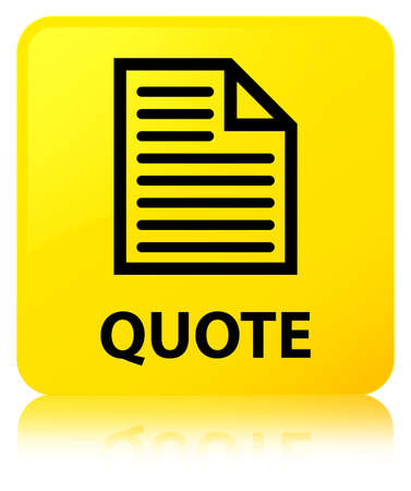 Quote (page icon) isolated on yellow square button reflected abstract illustration