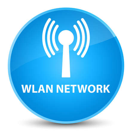 Wlan network isolated on elegant cyan blue round button abstract illustration
