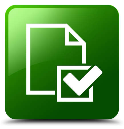 Checklist icon isolated on green square button abstract illustration