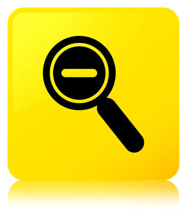 Zoom out icon isolated on yellow square button reflected abstract illustration