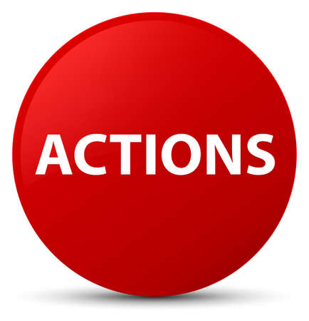 Actions isolated on red round button abstract illustration