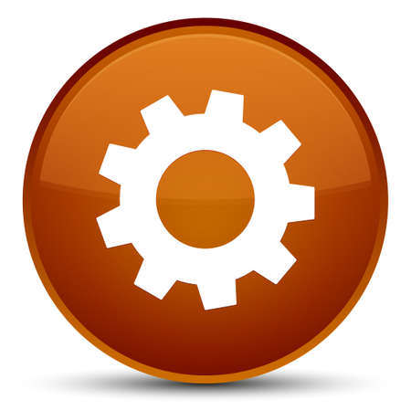 Process icon isolated on special brown round button abstract illustration Stock Photo