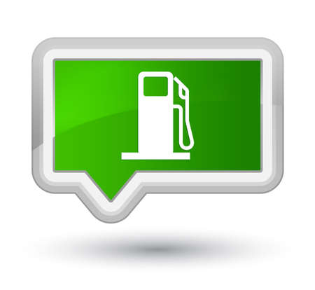 Fuel dispenser icon isolated on prime green banner button abstract illustration